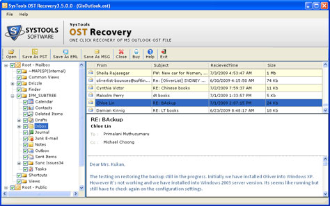 Restoring OST File screenshot